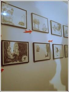 Illustrations tirées du Petit Chaperon Rouge exposées à la galerie l'Issue