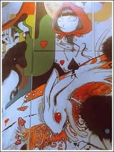 Oeuvre de l'exposition figurant Akazukin, détail