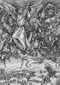 Saint Michael Fighting the Dragon par Albrecht Dürer